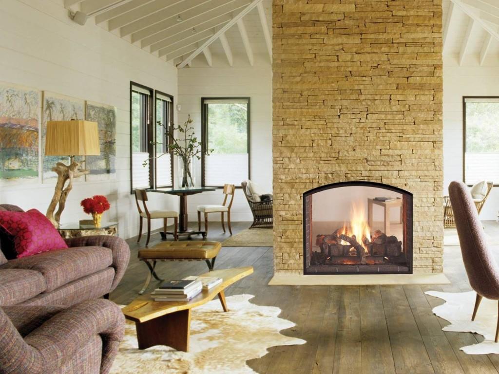 2 Sided Wood Burning Fireplace