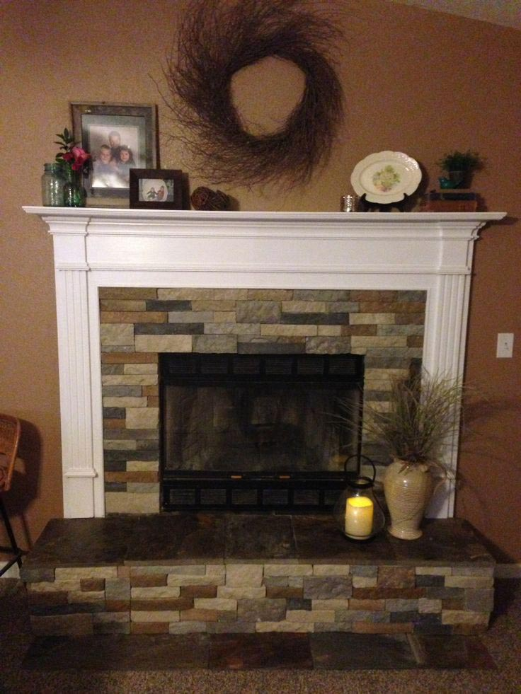 Air stone fireplace makeover fireplace designs for Stone fireplace makeover ideas