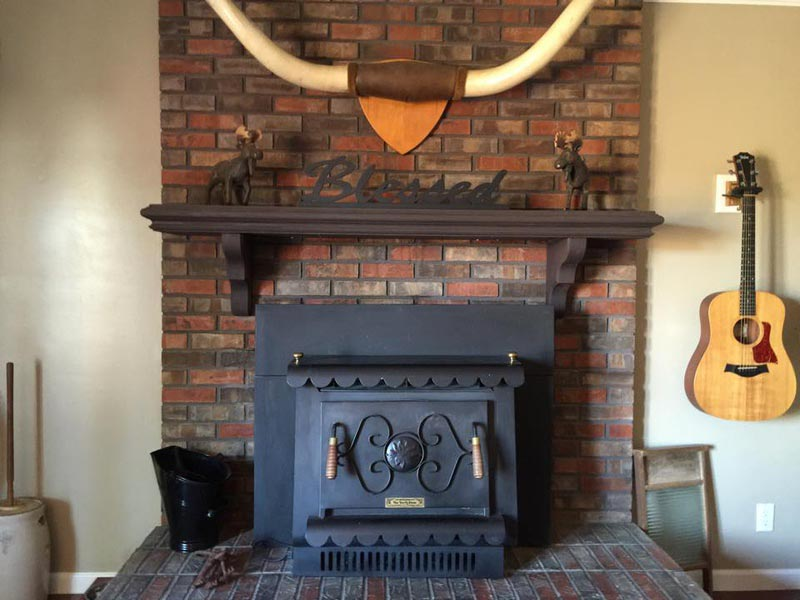 Air Stone Over Brick Fireplace