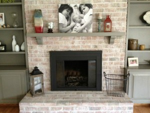 Brick Fireplace Mantel Makeover