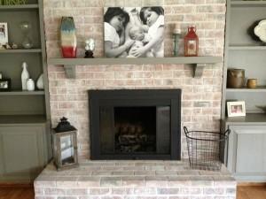 Brick Fireplace Mantel Makeover