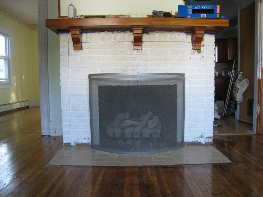Brick Fireplace Painted White