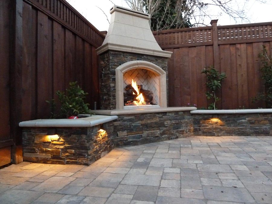Brick Outdoor Fireplace DIY