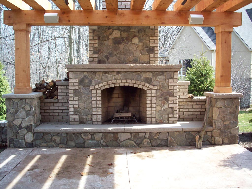 Brick outdoor fireplace plans free fireplace designs Deck fireplace designs