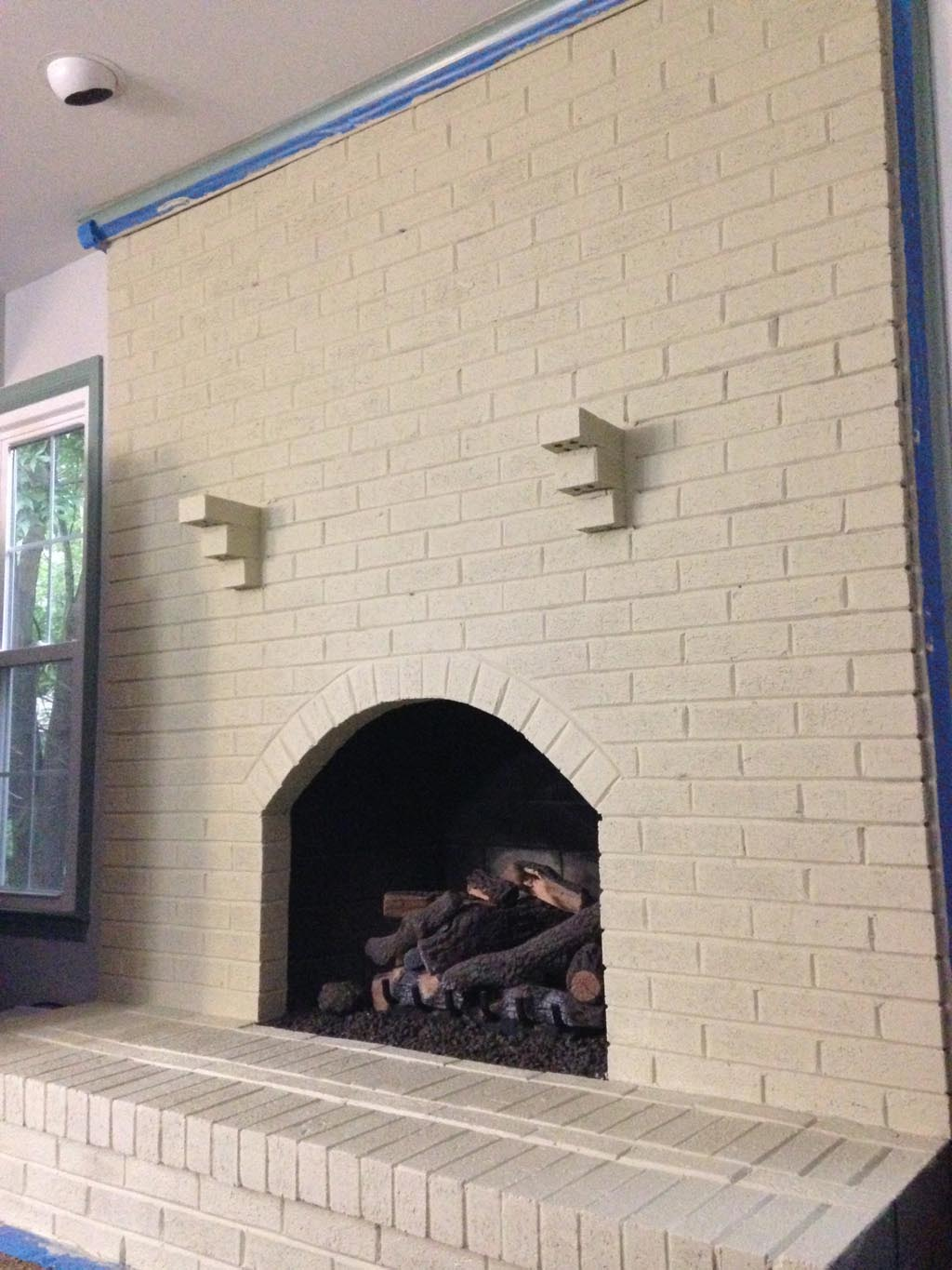 distressed painted brick fireplace fireplace designs
