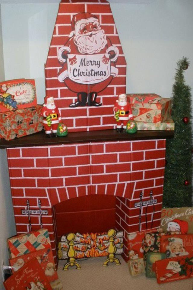 Diy fake fireplace for christmas fireplace designs for Acheter decoration noel