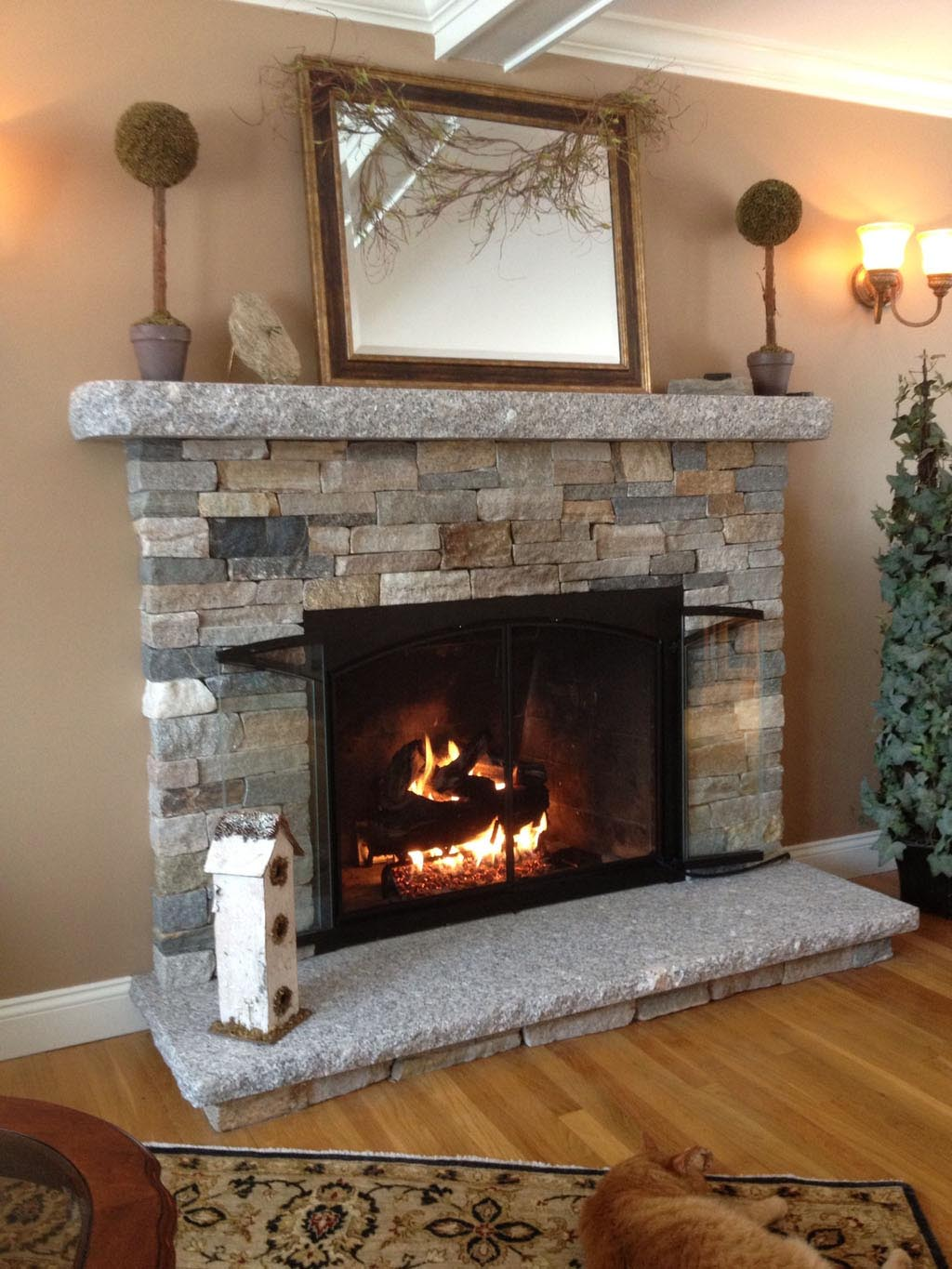 DIY Faux Stone Fireplace