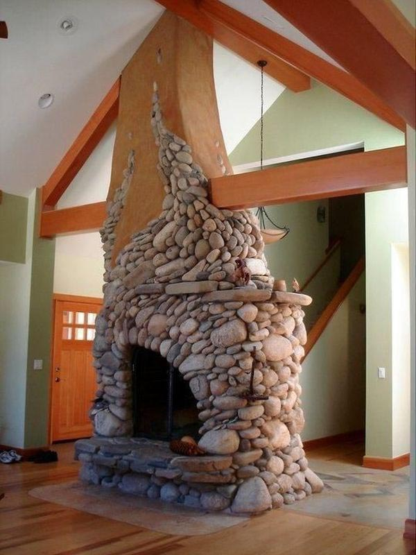DIY River Rock Fireplace