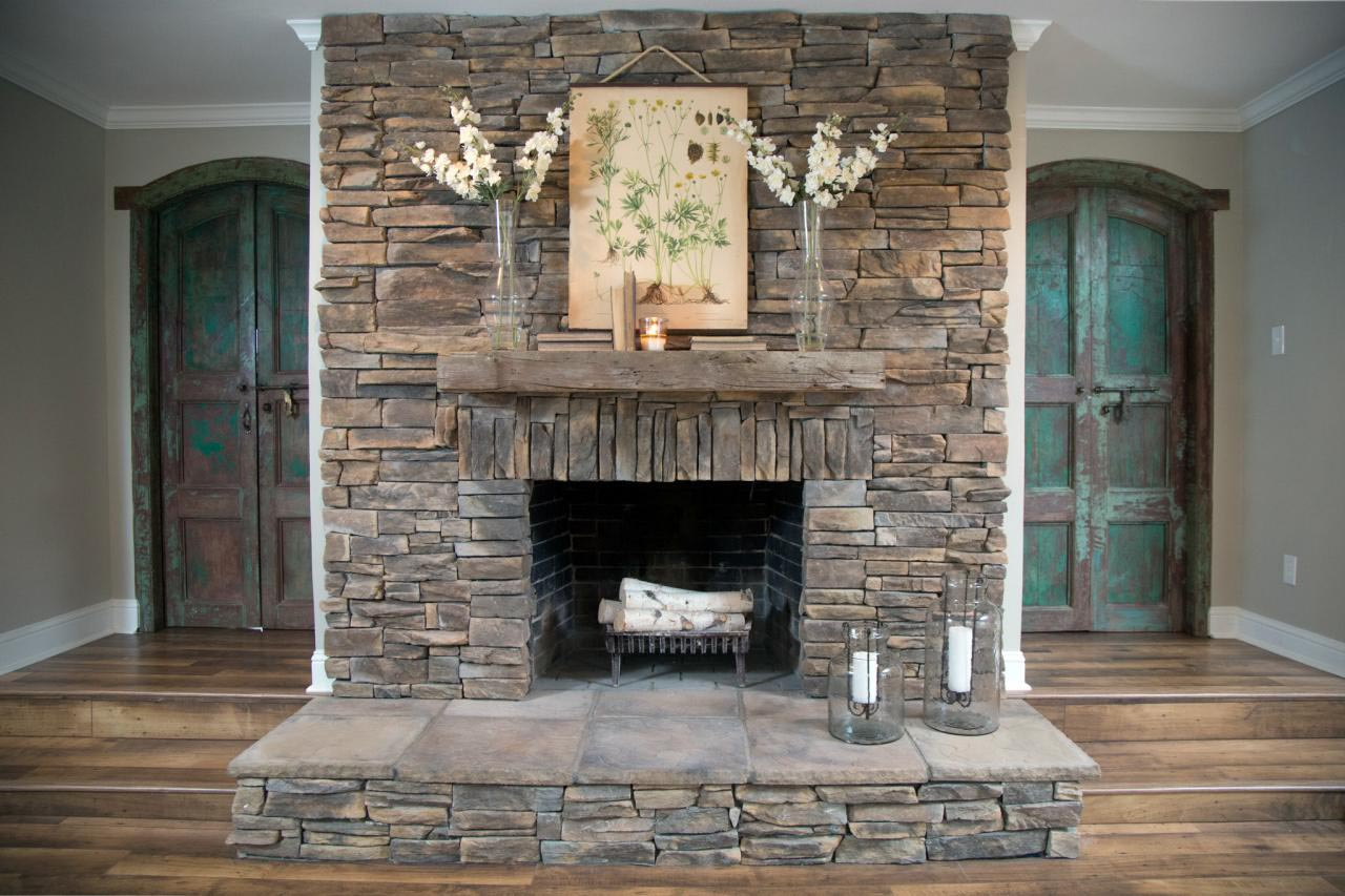 Dry Stack Stone Fireplace Ideas