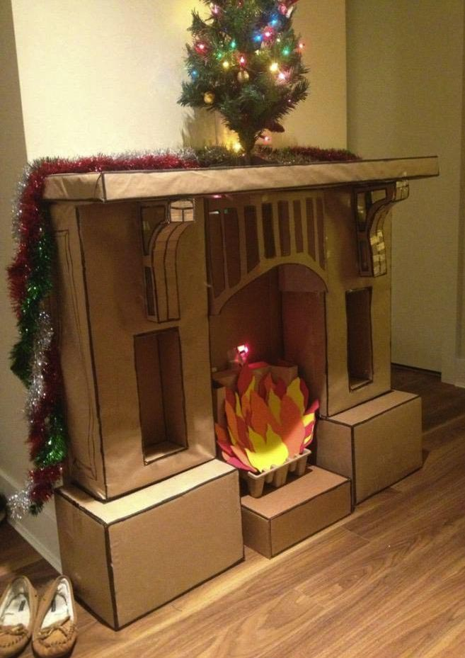 Creative Fake Fireplace Mantel : Fake Fireplace Mantel For Christmas. Fake fireplace mantel for christmas. fireplace mantels