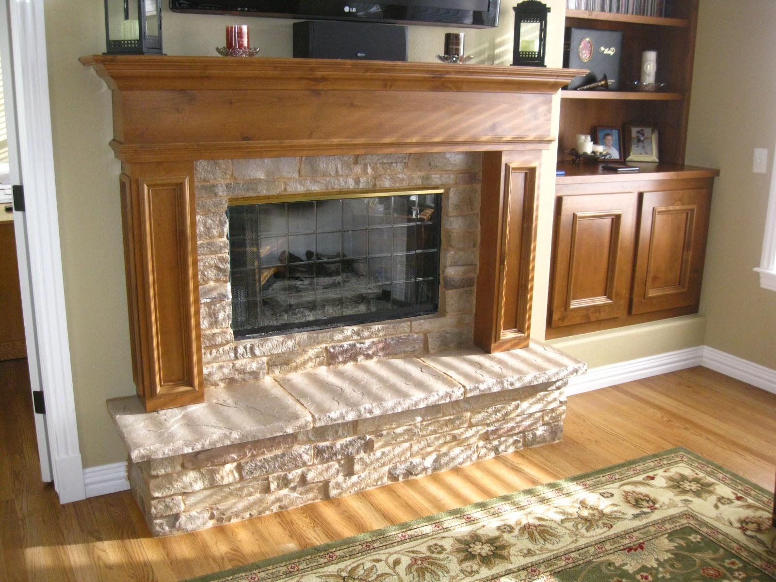 Blumicrochoco Faux Stone Gas Fireplace Surround