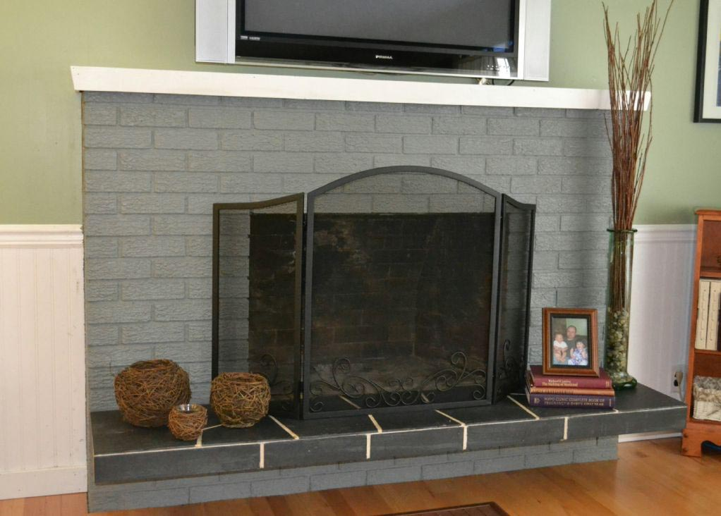 Grey painted brick fireplace fireplace designs for Bricks painting design