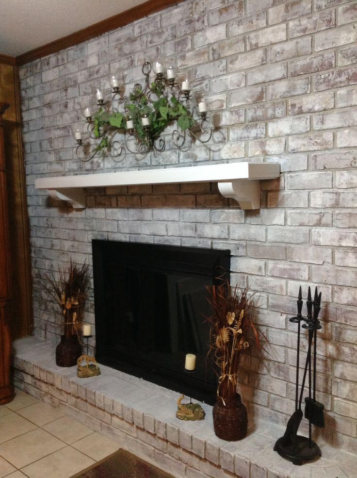 How to Whitewash Brick Fireplace