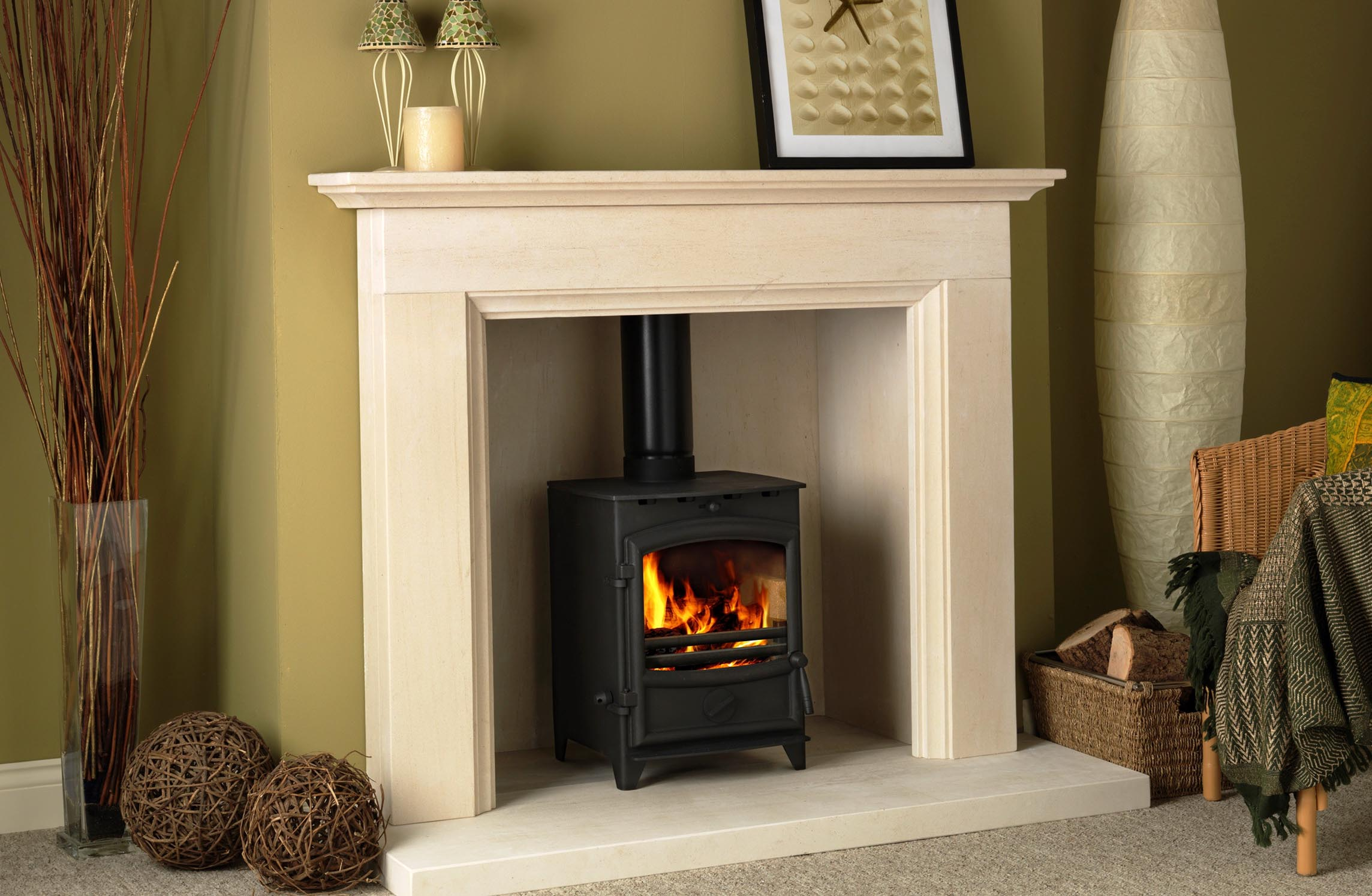 Limestone Fireplace Surrounds for Wood Burners