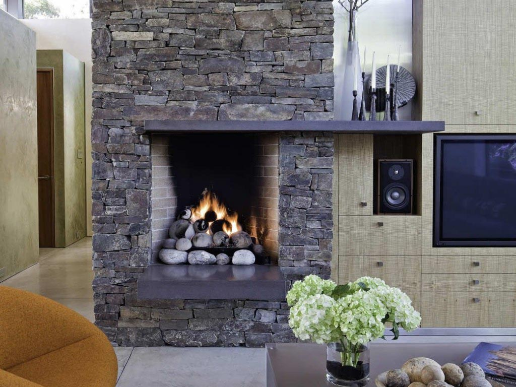 Modern stone fireplace design ideas fireplace designs - Large contemporary stone fireplace ...