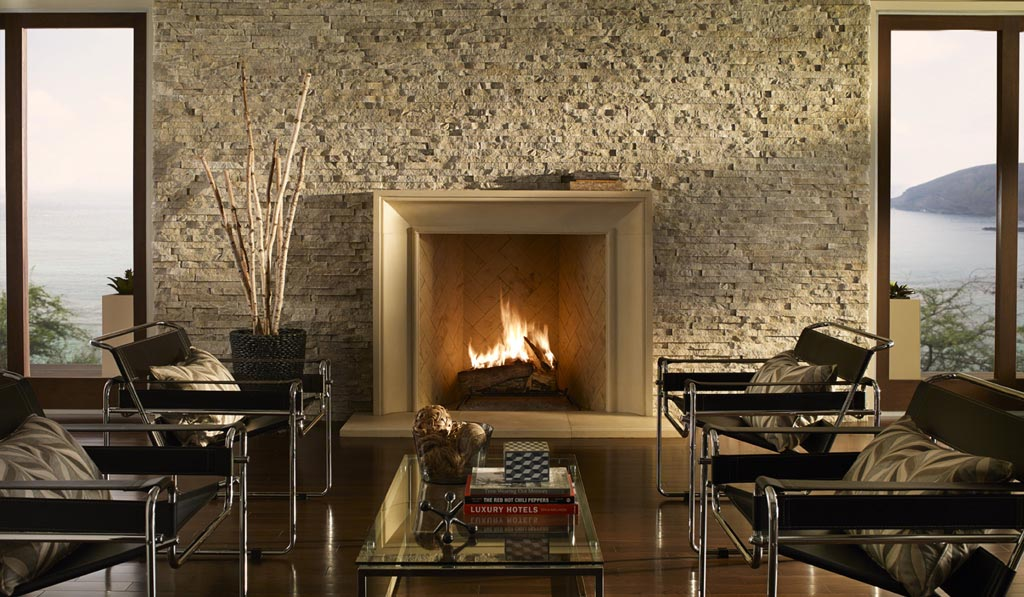 The modern stone fireplace is the champion in creating comfort fireplace designs - Large contemporary stone fireplace ...