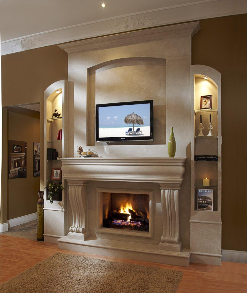 Modern Stone Fireplace Surround