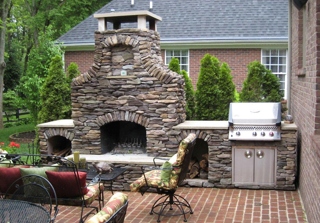 Attirant Outdoor Brick Fireplace Grill Designs