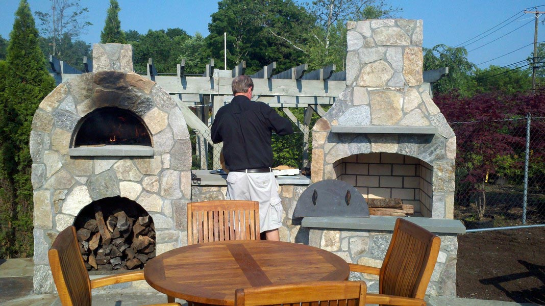 Outdoor Brick Fireplace With Oven Fireplace Designs