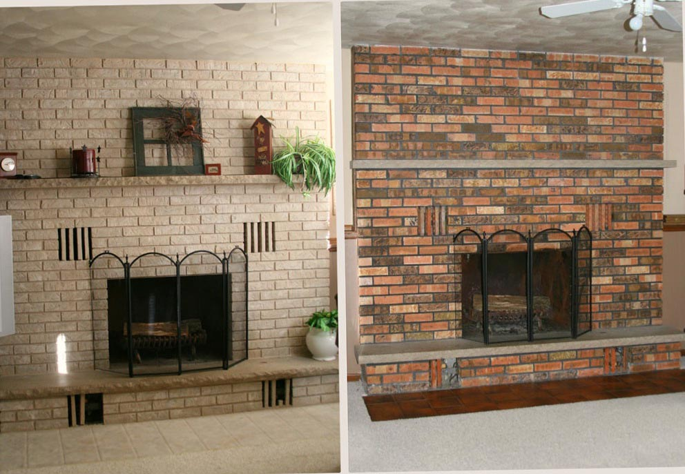 Paint brick fireplace before after fireplace designs for Bricks painting design