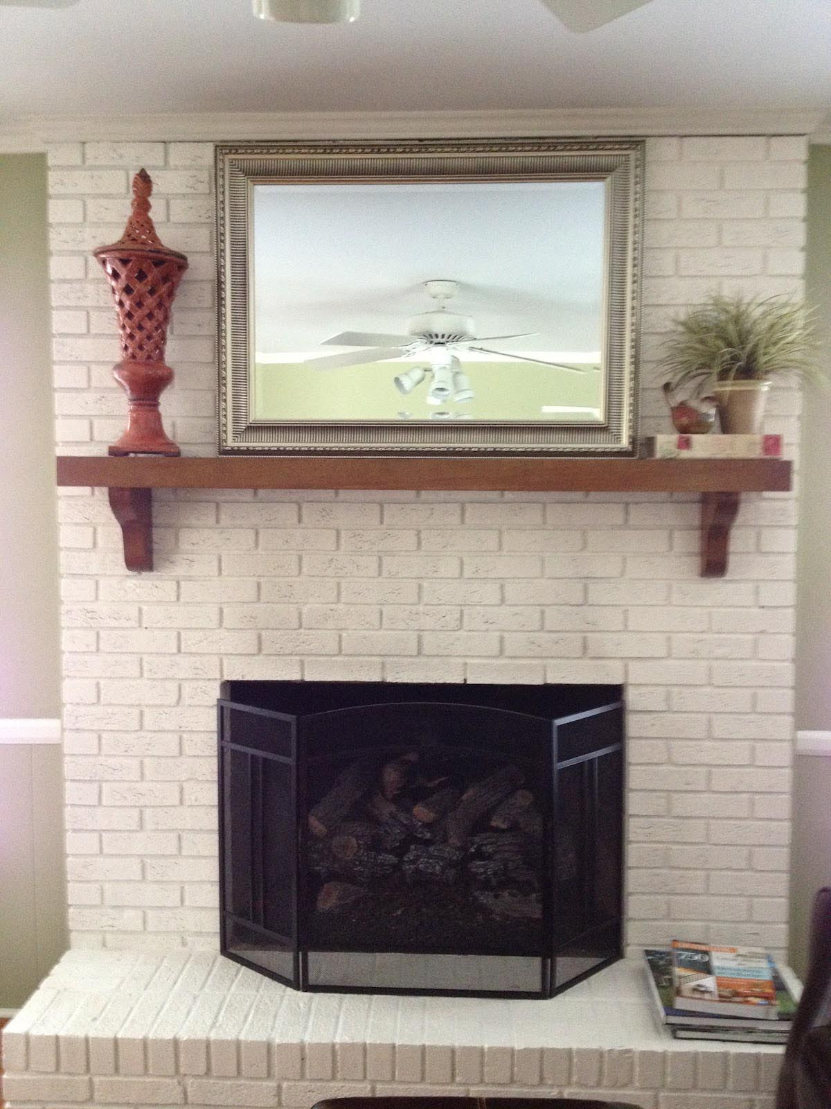 Paint Brick Fireplace White