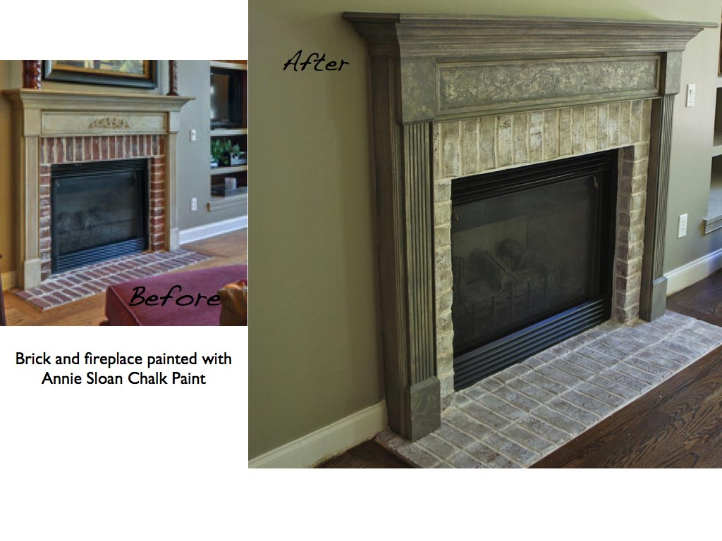 Painted Brick Fireplace Before and After