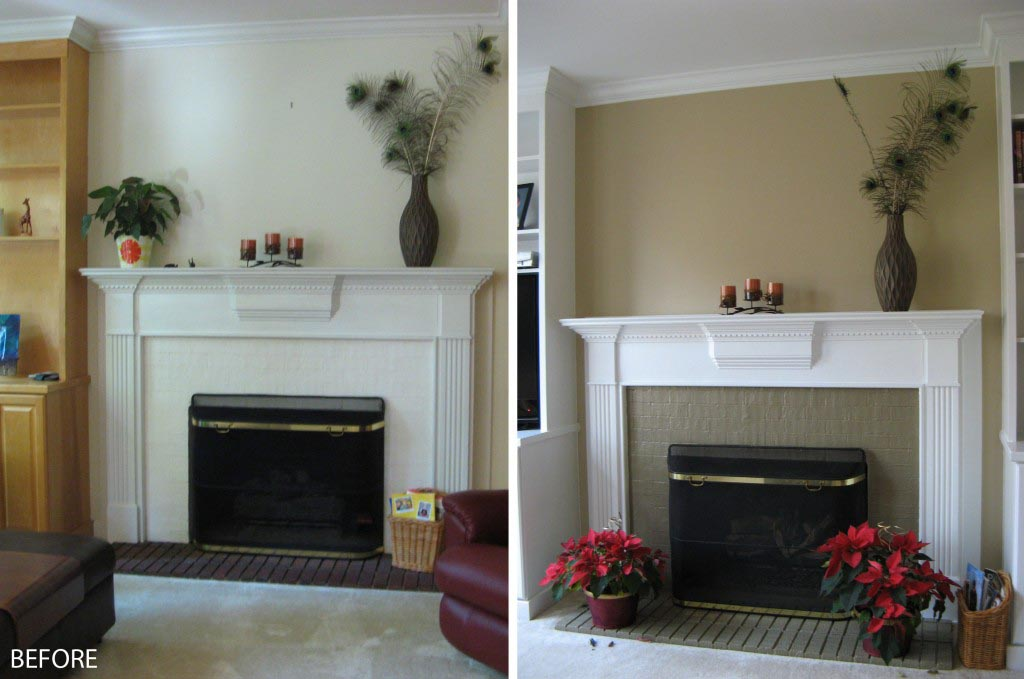 Painted white brick fireplace fireplace designs for Bricks painting design