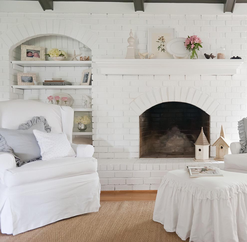 Painting Fireplace Brick White