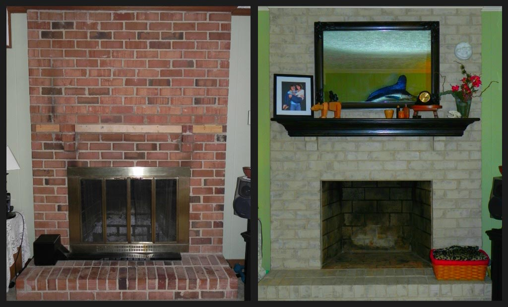 Painting over brick fireplace fireplace designs for Bricks painting design