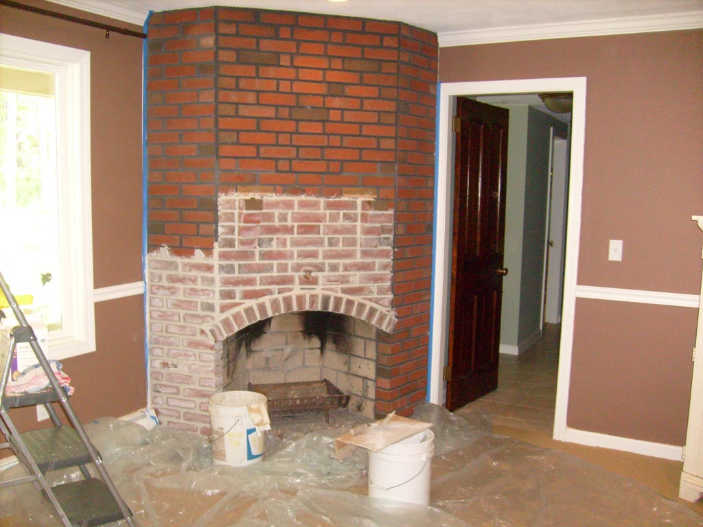 Red brick fireplace remodel fireplace designs for Bricks painting design
