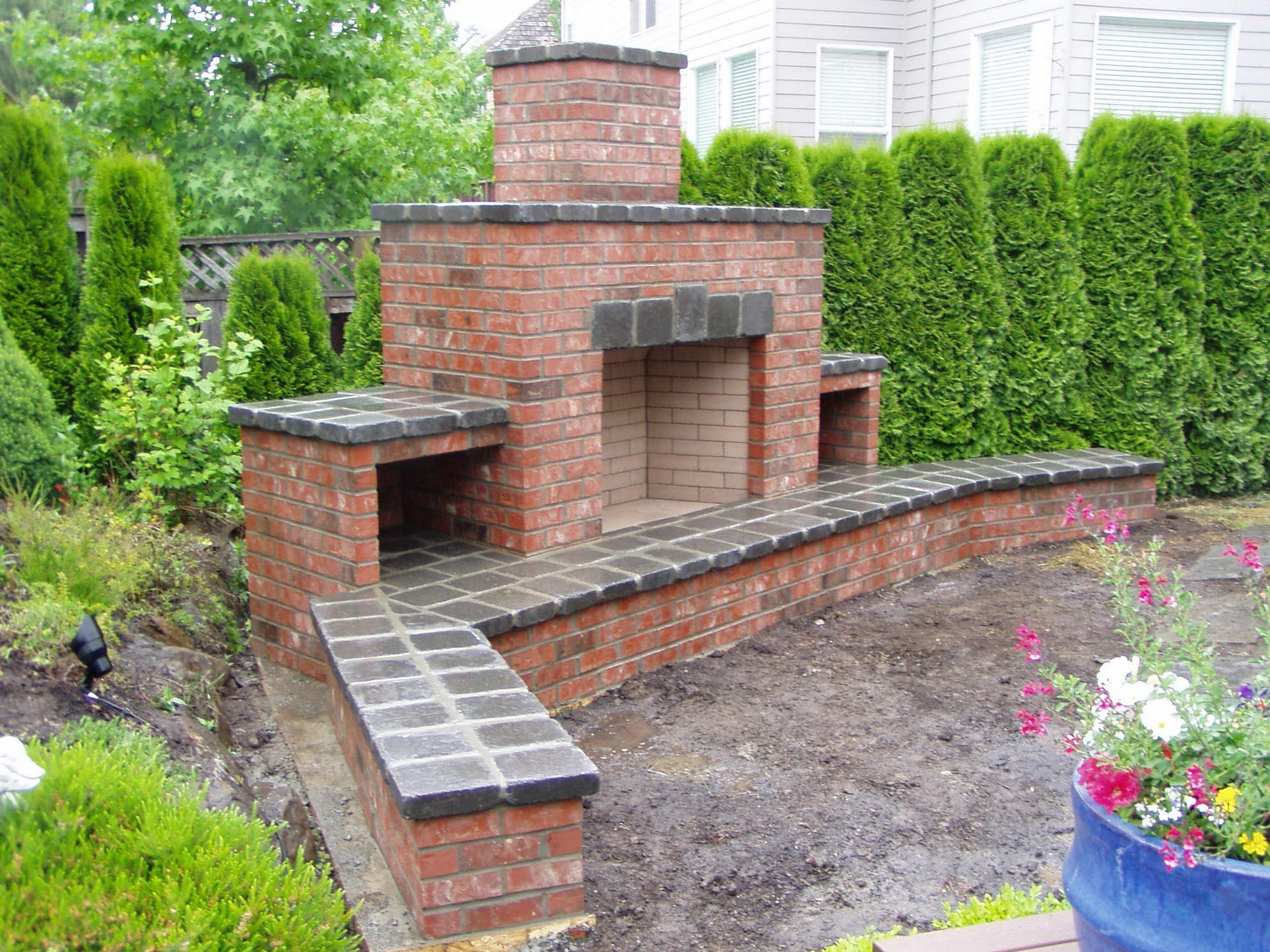 Red brick outdoor fireplace fireplace designs for Outside fireplace plans