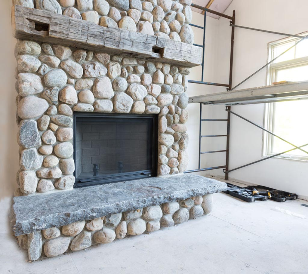 River Rock Stone Fireplace