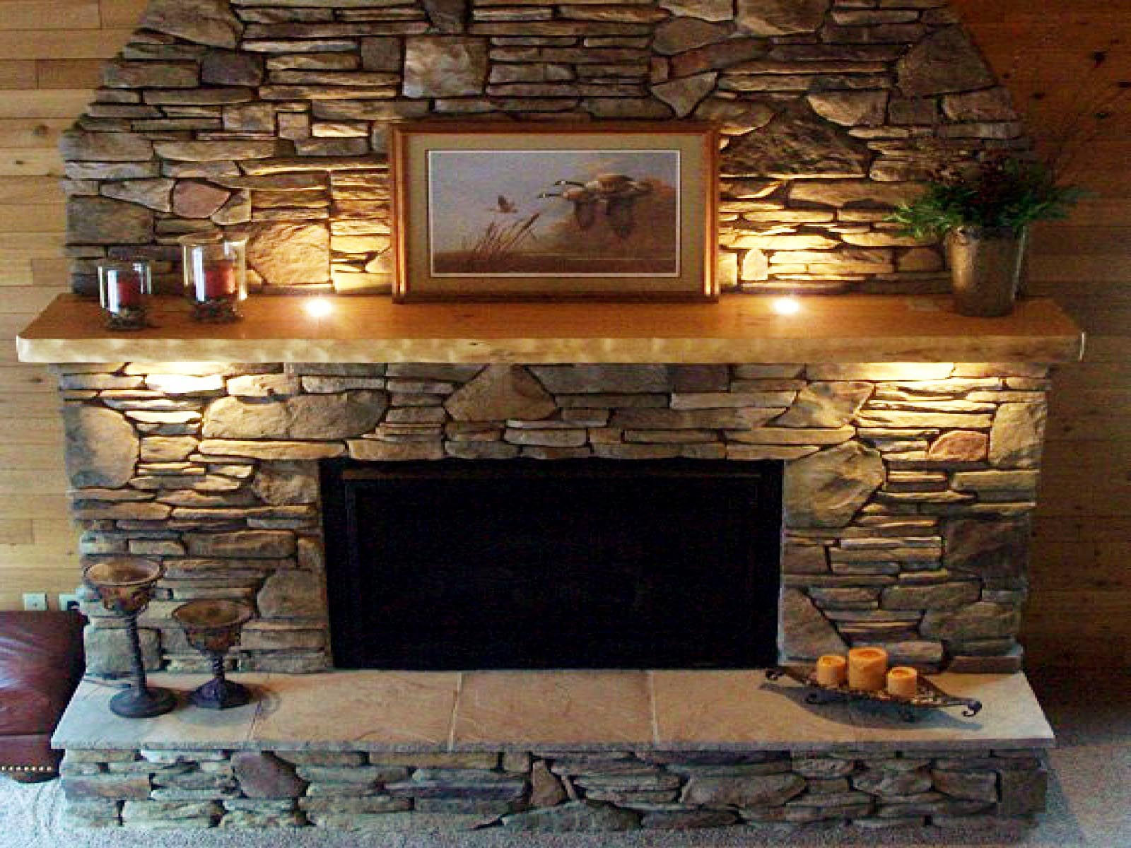 Stacked slate fireplace surround fireplace designs for Interior fireplace designs