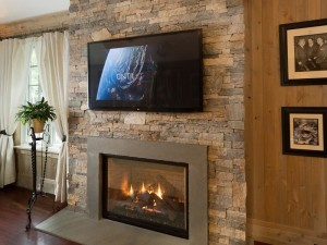 Stacked Stone Veneer Fireplace