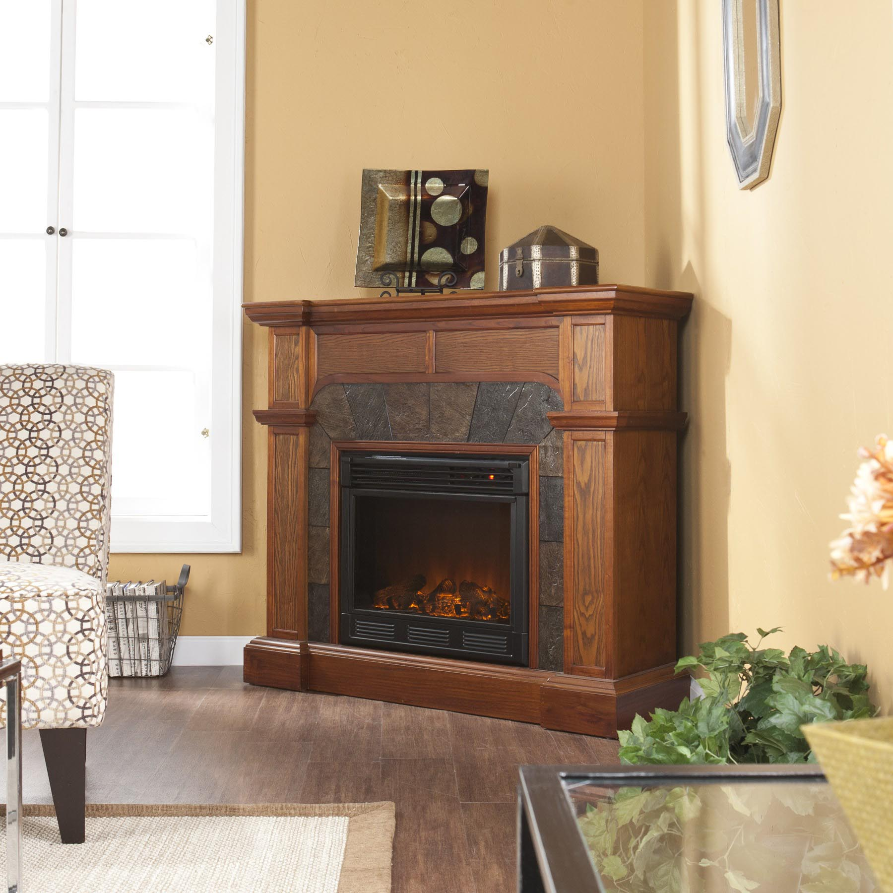 Stone Corner Electric Fireplace
