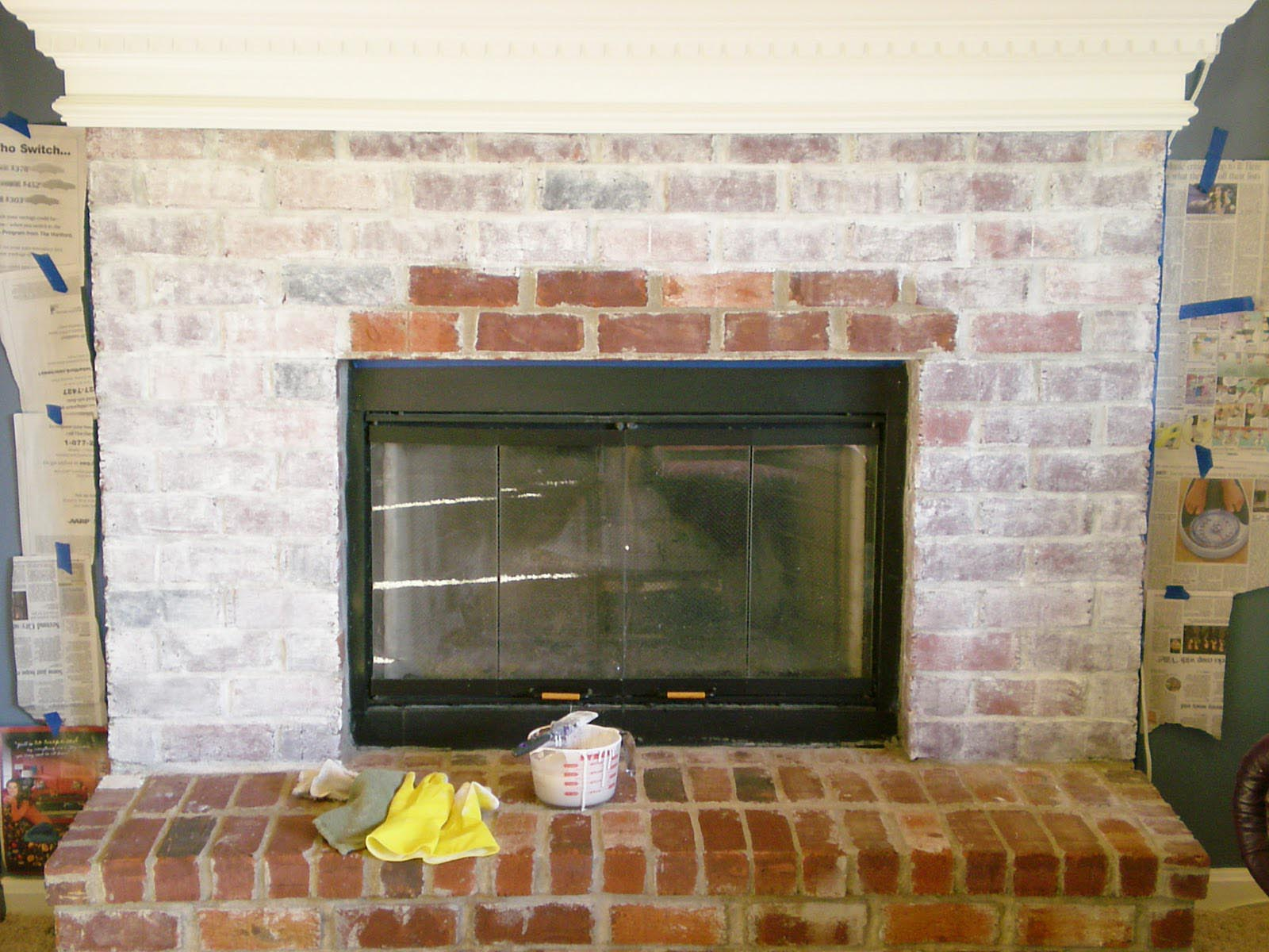 White washing brick fireplace fireplace designs for Bricks painting design