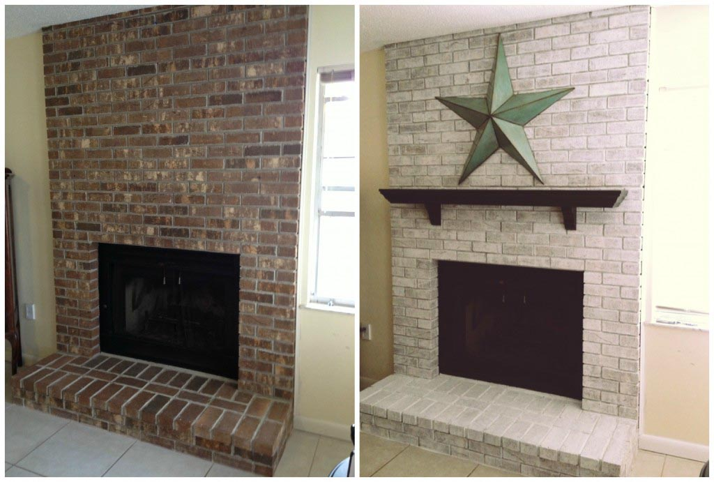 Whitewash Brick Fireplace Ideas : Whitewash Brick Fireplace Before And After. Whitewash brick fireplace before and after. fireplace ideas