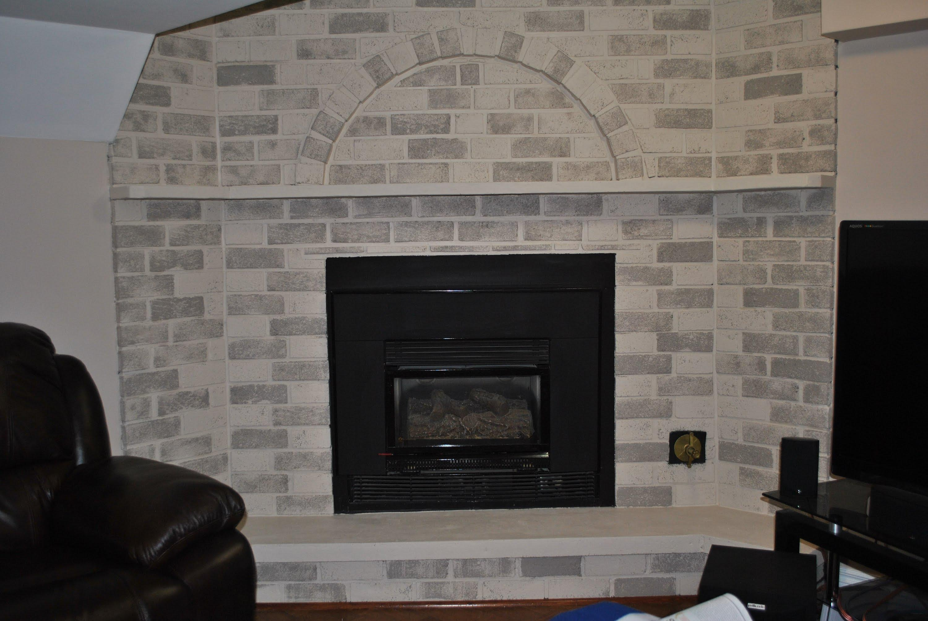 Whitewash Red Brick Fireplace Fireplace Designs