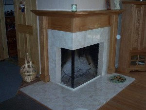 Wood Tile Fireplace Surround