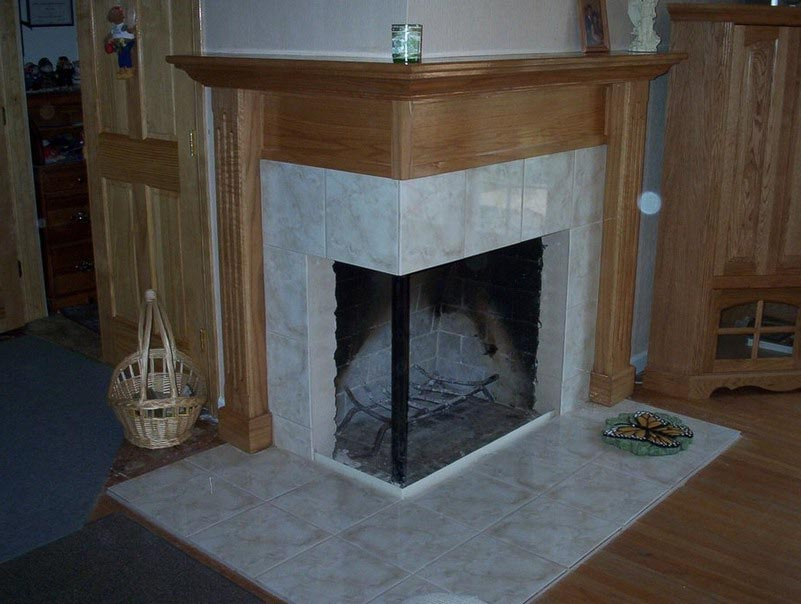 Fireplace surround ideas with tile for Wood fireplace surround designs